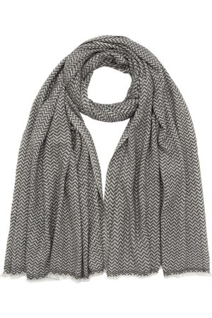 Men's Artisanal Grey Wool Zigzag Scarf Slate & Ivory Antra Designs