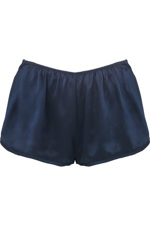 Women Pajamas - Women's Artisanal Navy Silk Athletic Shorts Medium lotte.99