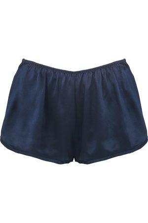 Women Pajamas - Women's Artisanal Navy Silk Shorts lotte.99
