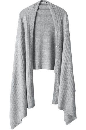 Women Wrap tops - Women's Carbon Neutral Grey Wool Luna Travel Cable Cashmere Wrap Voya