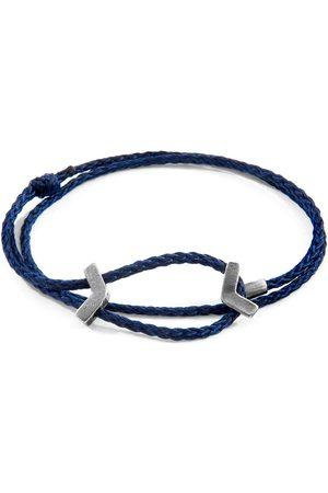 Anchor & Crew Navy William Silver & Rope Skinny Bracelet