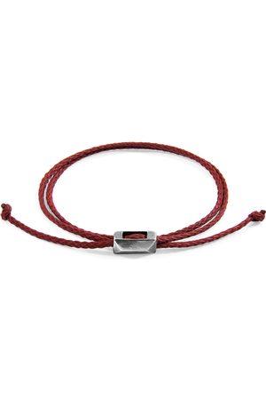 Anchor & Crew Men Bracelets - Burgundy Edward Silver & Rope Skinny Bracelet