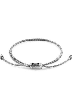 Men's Artisanal Taupe Leather Grey Edward Silver & Braided Skinny Bracelet ANCHOR & CREW