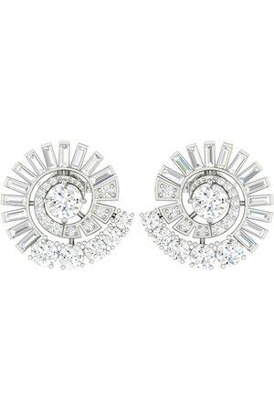 Women's Artisanal White 18K Solid Gold Baguette Diamond Stud Earrings Handmade Jewelry