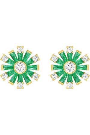Women's Artisanal Rose Gold 18K Yellow Gold Natural Diamond Baguette Emerald Gemstone Stud Earrings Handmade Jewelry
