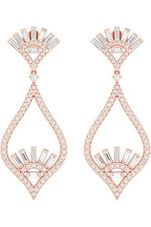 Women's Artisanal Rose Gold 18K Solid Baguette Diamond Designer Dangle Earrings Handmade Jewelry