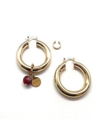 Women Earrings - Women's Artisanal Gold Brass The Hoop Set ADIBA