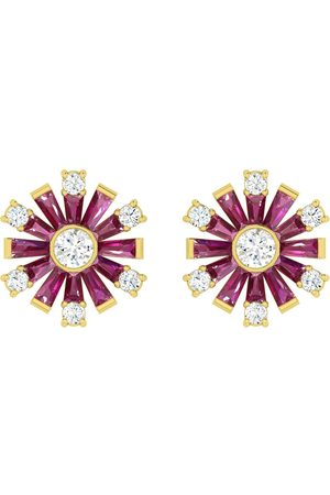 Women Studs - Women's Artisanal Rose Gold 18K Yellow Gold Natural Diamond Baguette Ruby Gemstone Stud Earrings Handmade Jewelry