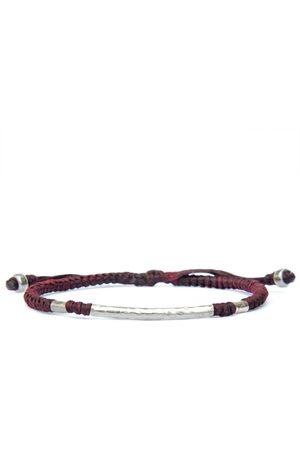 Men Bracelets - Artisanal Silver Red Wine Rounded Viking Style Men Bracelet. Hammered With Knots - Little Björn Harbour UK Bracelets