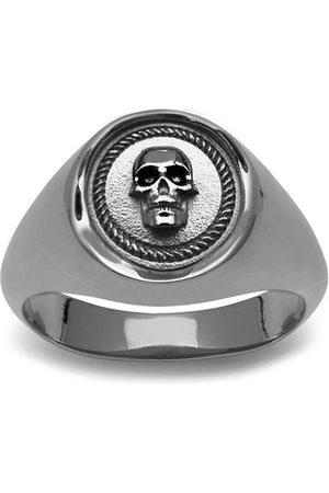 NORTHSKULL Atticus Skull Seal Pinky Ring In Gunmetal
