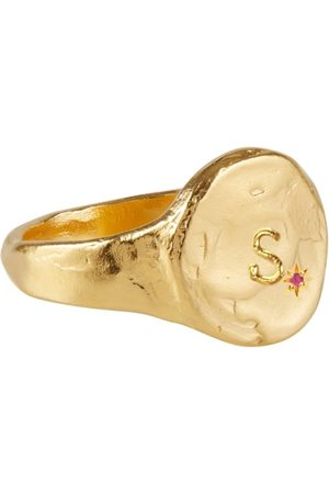 Women Rings - Women's Artisanal Gold S Initial Disco Inferno Star-Set Signet Buff Jewellery