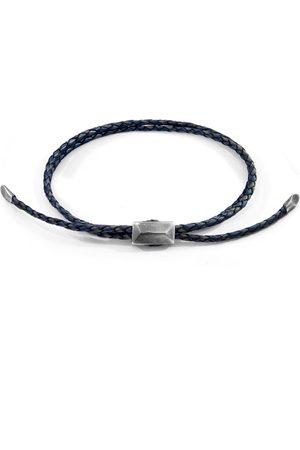 Men Bracelets - Men's Artisanal Blue Leather Indigo Edward Silver & Braided Skinny Bracelet ANCHOR & CREW