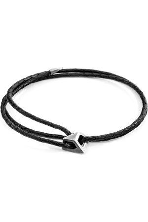 Men Bracelets - Men's Artisanal Black Leather Midnight Arthur Silver & Braided Skinny Bracelet ANCHOR & CREW