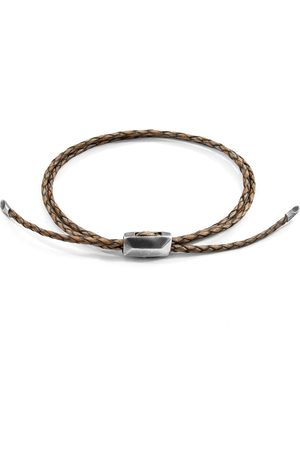 Men's Artisanal Taupe Leather Grey Edward Silver Braided Skinny Bracelet ANCHOR & CREW