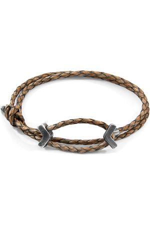Men Bracelets - Men's Artisanal Taupe Leather Grey William Silver & Braided Skinny Bracelet ANCHOR & CREW