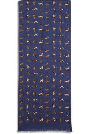 Men's Artisanal Navy Silk Scarf - Hunting Burrows & Hare