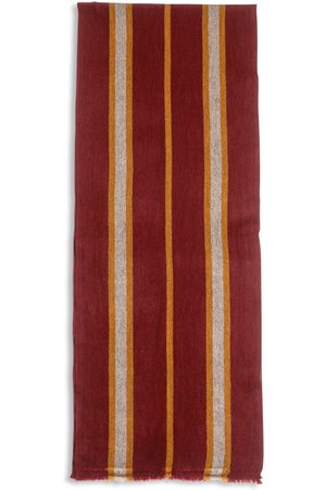 Men Scarves - Men's Artisanal Red Wool Cashmere & Merino Scarf - Stripe Port Burrows & Hare