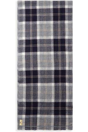 Men Scarves - Men's Artisanal Grey Wool Cashmere & Merino Scarf - Blue & Tartan Burrows & Hare