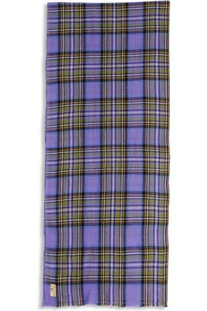 Men Scarves - Men's Artisanal Pink/Purple Wool Cashmere & Merino Scarf - Tartan Lilac Burrows & Hare