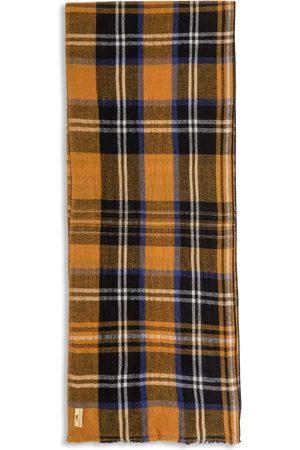 Men Scarves - Men's Artisanal Yellow Wool Cashmere & Merino Scarf - Tartan Burrows & Hare