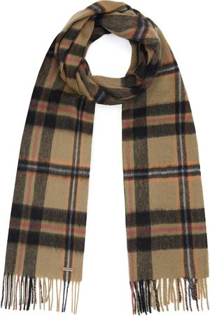 Men's Non-Toxic Dyes Black Wool Hexham Scarf - Check Hortons England