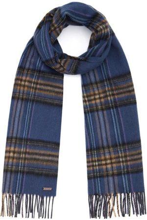 Men Scarves - Men's Non-Toxic Dyes Blue Wool Hexham Scarf Hortons England