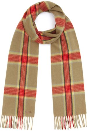 Men Scarves - Men's Non-Toxic Dyes Red Wool Hexham Scarf - Check Hortons England