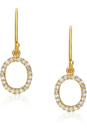 Women's Artisanal Gold Oval Drop Earrings - Pave Set Preeti Sandhu