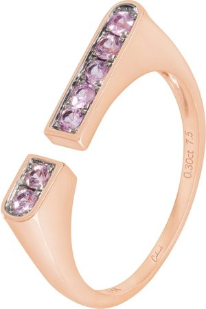 Women's Low-Impact Pink 14K Rose Gold Open Stacking Ring Set With Round Brilliant Sapphires cabirol joaillerie