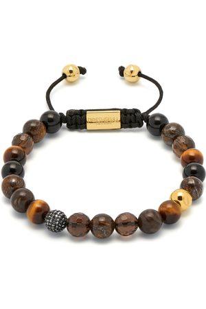 Men's Black Mixed Brown Semi-Precious Stones & Crystal Bracelet Northskull