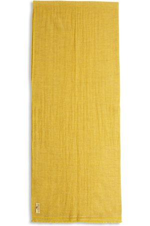 Men Scarves - Men's Artisanal Yellow Wool Cashmere & Merino Scarf - Herringbone Burrows & Hare