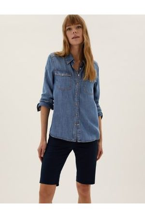 M&S Collection Pure Tencel™ Denim Regular Fit Shirt, Denim