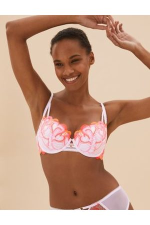 Boutique Women Balconette Bras - Embroidered Underwired Push-Up Balcony Bra A-DD