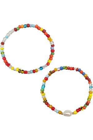 Women Bracelets - Women's Artisanal White Radical Glass Bead & Pearl Bracelet Set House of Elliott