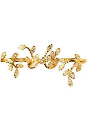 Women Rings - Women's Artisanal Silver Gold Plated Marquise Cz Pavé Set Leaf Vine Three Finger Ring AVILIO London
