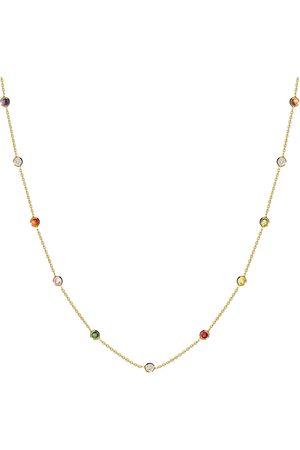 Women's Low-Impact Gold Leather Rainbow Bezel-Set Stone Necklace - 14K MOSUO Jewellery
