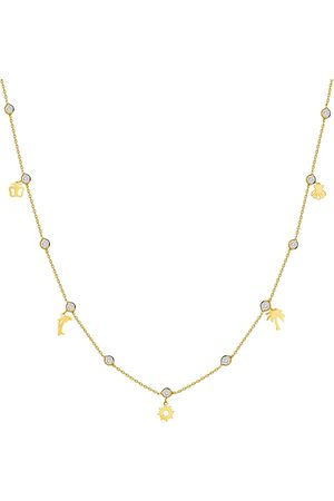 Women's Low-Impact Gold Leather Summer Charm Bezel-Set Stone Necklace - 14K MOSUO Jewellery