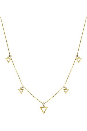 Women's Low-Impact Gold Leather Triangle Bezel - Set Sapphire Necklace - 14K, Sapphire MOSUO Jewellery