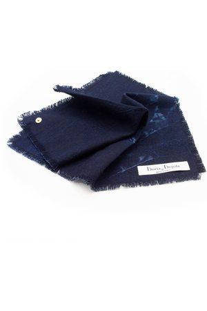 Men's Artisanal Blue Cotton Caruggio Denim Pocket Square X Candiani Doria & Dojola