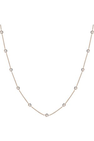Women Necklaces - Women's Low-Impact Rose Gold Leather Bezel-Set Stone Necklace - 14K MOSUO Jewellery