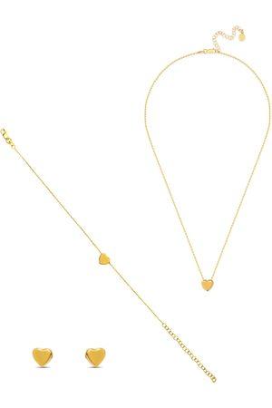 Women Bracelets - Women's Low-Impact Gold Cotton Heart Of Jewellery Set - Earrings, Bracelet & Necklace MOSUO Jewellery