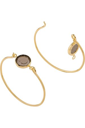 Women's Low-Impact Gold Vermeil 18K Openable Bracelet Set With A Heart Engraved Smoked Quartz cabirol joaillerie