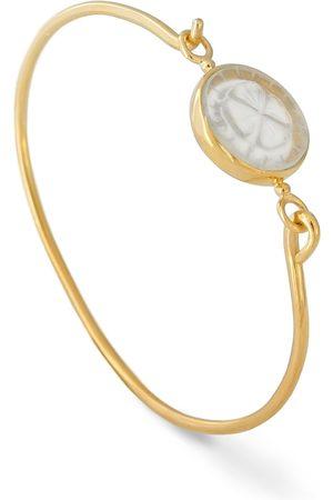 Women's Low-Impact Gold Vermeil 18K Openable Bracelet Set With A Clover Engraved Rock Cristal cabirol joaillerie