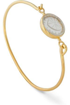 Women Bracelets - Women's Low-Impact Gold Vermeil 18K Openable Bracelet Set With An Engraved Rock Cristal cabirol joaillerie