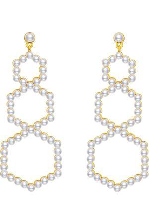 Women's Artisanal Silver Gold Plated Pearl Pavé Set Oversized Earrings AVILIO London