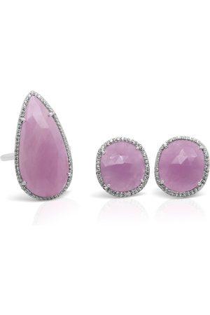 Women Rings - Women's Low-Impact Pink Sapphire Ring & Earrings Set Gem Bazaar Jewellery