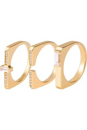 Women's Gold Brass Berat Stacking Rings 3 Set - Berat, Full-Paved, Baguette ille lan