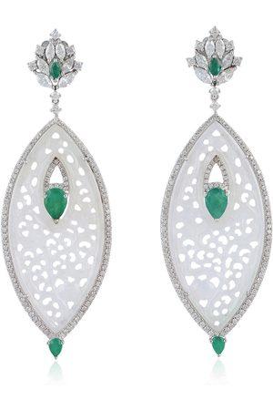 Women Studs - Women's Artisanal White Gold 18K Carving Jade Diamond Marquise Shaped Dangle Earrings Jewelry