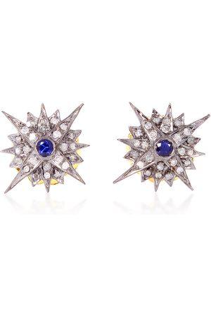 Women's Artisanal Blue Sterling Silver 925 Diamond Starburst Stud Earrings Sapphire Jewelry