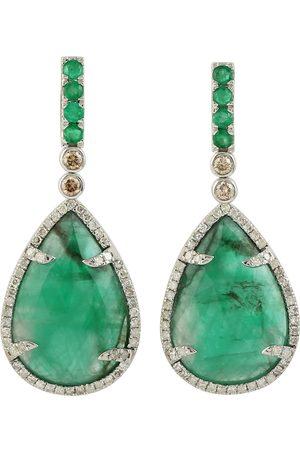 Women Studs - Women's Artisanal White 18K Gold Pear Emerald Diamond Dangle Earrings Handmade Jewelry